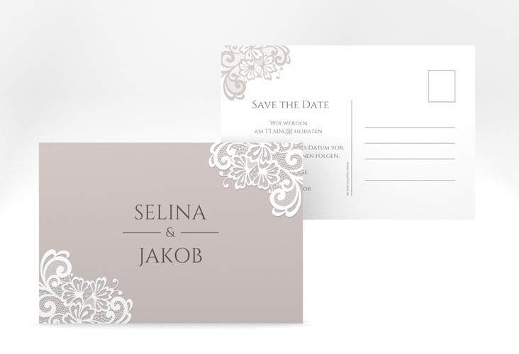 """Save the Date-Postkarte """"Vintage"""" A6 Postkarte grau"""
