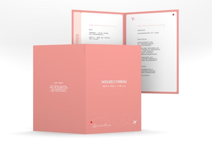 "Menükarte Hochzeit ""Weddingpass"" DIN A5 geklappt rosa"