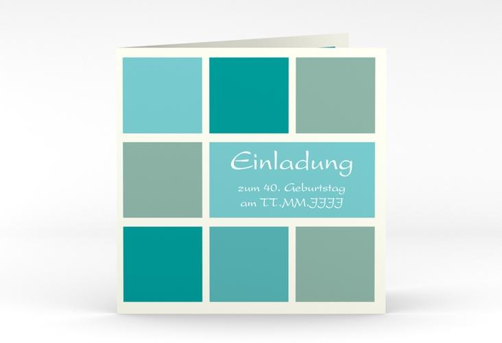 """Einladungskarte """"Daniel/Daniela"""" Quadratische Klappkarte blau"""