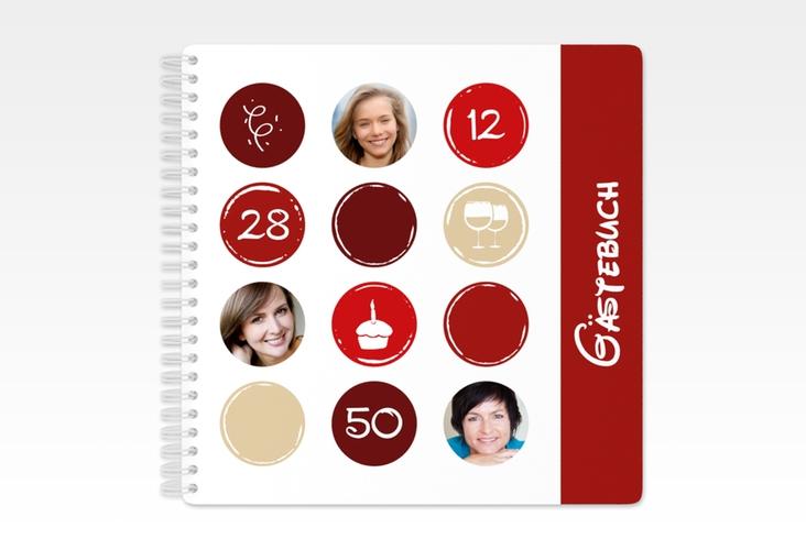 """Gästebuch Geburtstag """"Circles"""" Ringbindung rot"""