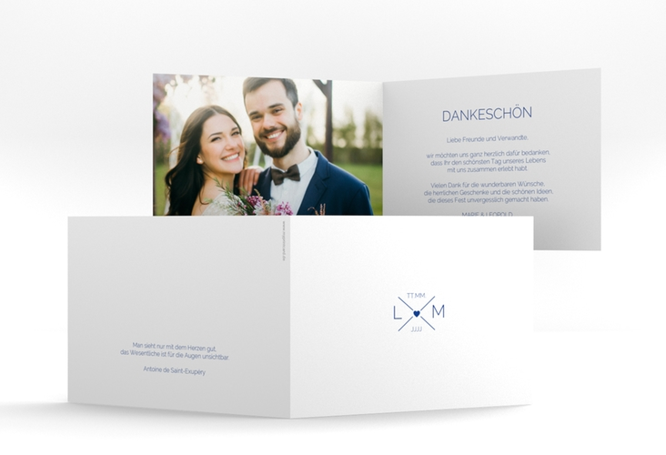 "Danksagungskarte Hochzeit ""Initials"" A6 Klappkarte Quer blau"