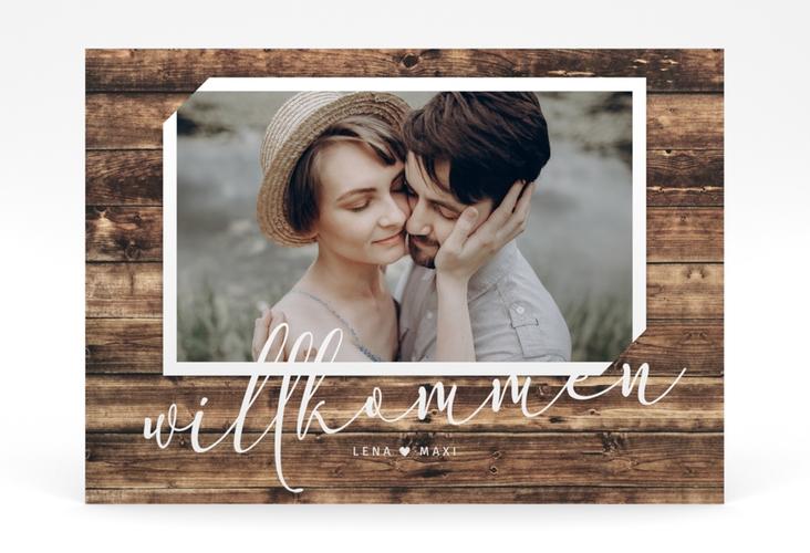 """Willkommensschild Poster """"Rustic"""" 70 x 50 cm Poster braun"""