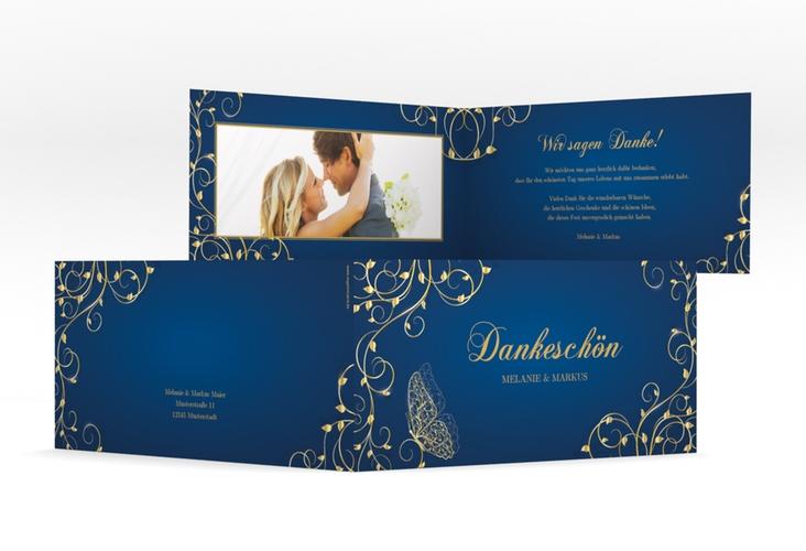 "Danksagungskarte Hochzeit ""Eternity"" DIN lang Klappkarte blau"