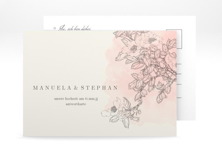 """Antwortkarte Hochzeit """"Artlover"""" A6 Postkarte rosa"""