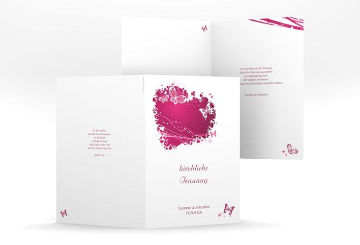 """Kirchenheft Hochzeit """"Mailand"""" DIN A5 geklappt pink"""