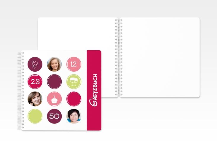 "Gästebuch Geburtstag ""Circles"" Ringbindung pink"