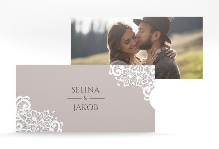 """Hochzeitseinladung """"Vintage"""" Einsteckkarte grau"""
