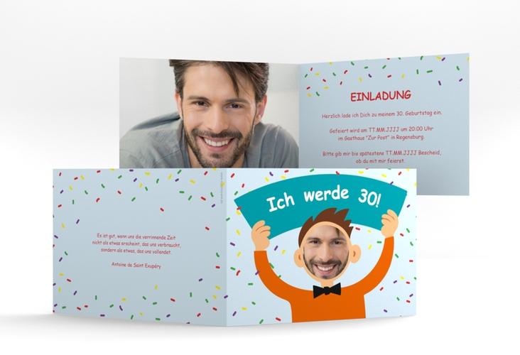 """Einladungskarte """"Comic Man"""" A6 Klappkarte Quer tuerkis"""
