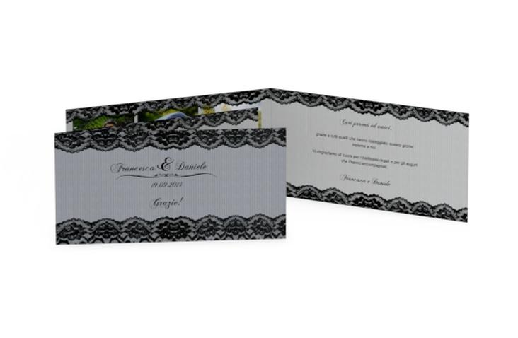 Ringraziamenti matrimonio collezione Montreux DIN lang Klappkarte nero