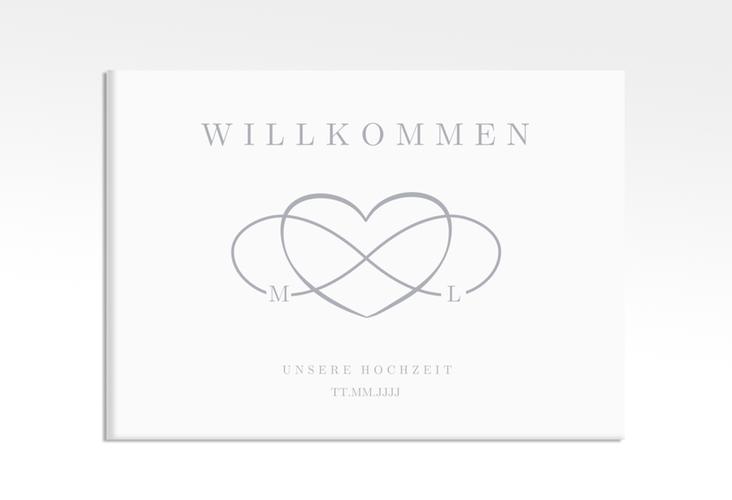 "Willkommensschild Leinwand ""Infinity"" 70 x 50 cm Leinwand grau"