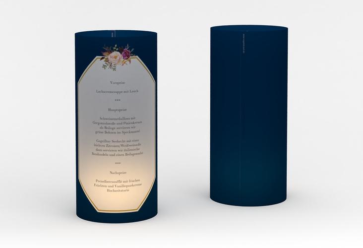 """Windlicht Menü Hochzeit """"Prachtvoll"""" Windlicht blau"""