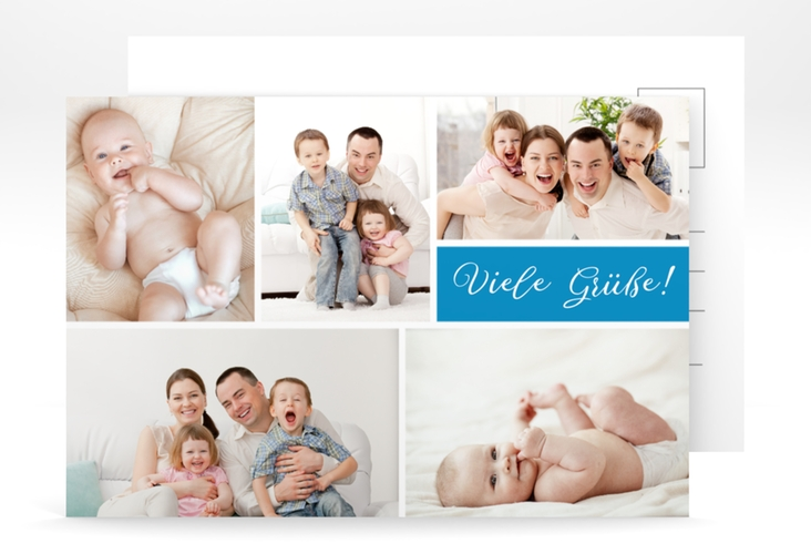 "Grußkarte ""Farbenfroh"" A6 Postkarte blau"