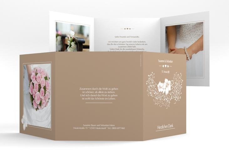 "Danksagungskarte Hochzeit ""Jena"" Quadr. Karte doppelt braun"