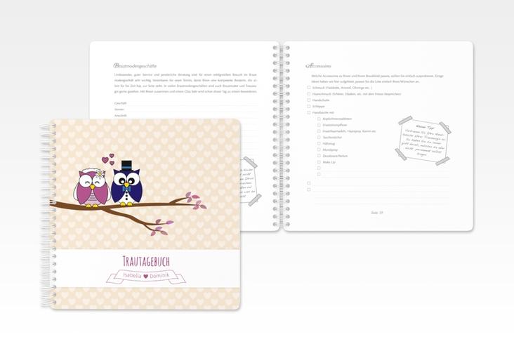 """Trautagebuch Hochzeit """"Eulenliebe"""" Trautagebuch Hochzeit beige"""