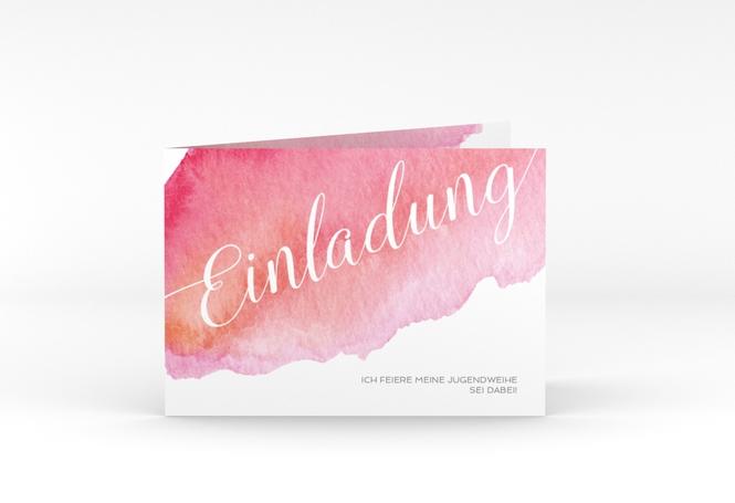 """Einladungskarte Jugendweihe """"Coloured"""" A6 Klappkarte Quer"""