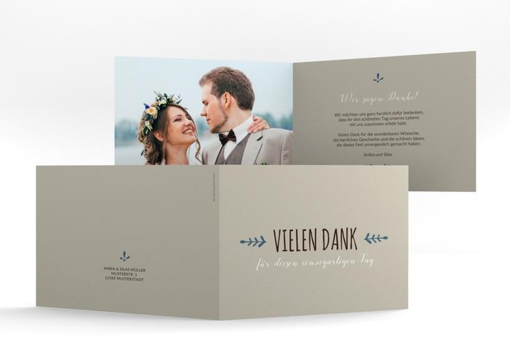 """Danksagungskarte Hochzeit """"Eden"""" A6 Klappkarte Quer blau"""