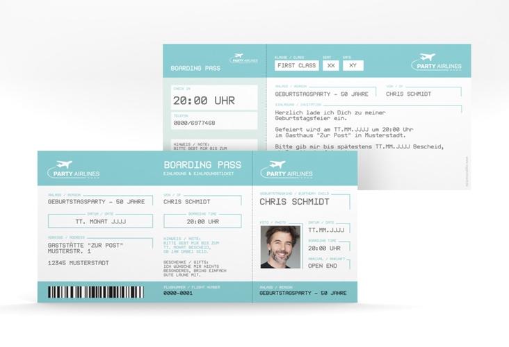 "Einladungskarte ""Boardingpass"" DIN lang blau"