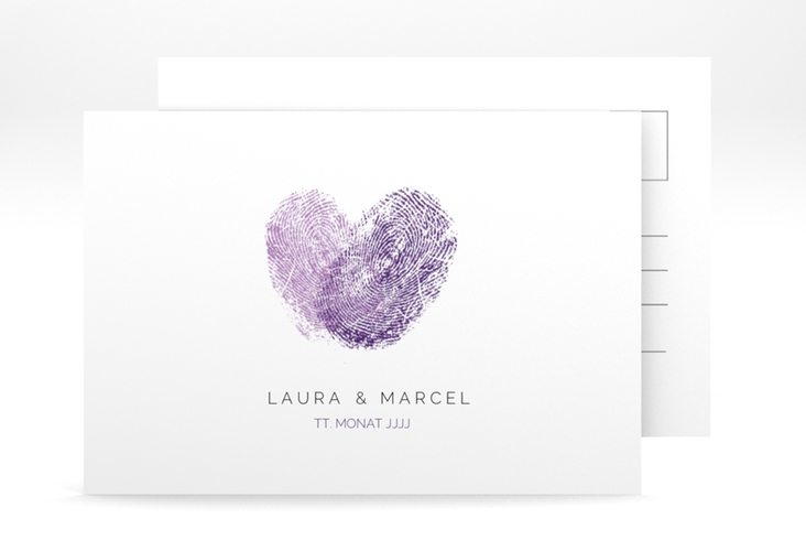 "Save the Date-Postkarte ""Fingerprint"" A6 Postkarte lila"