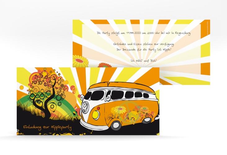"""Partykarte """"Hippie"""" DIN lang"""