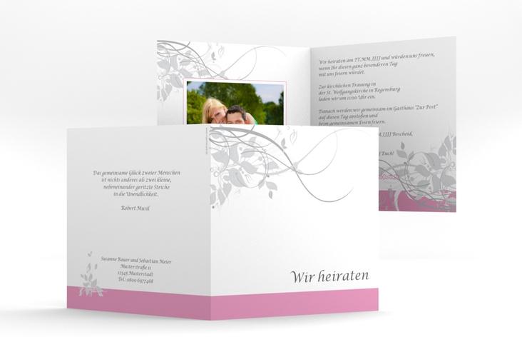 """Hochzeitseinladung """"Florenz"""" Quadratische Klappkarte rosa"""