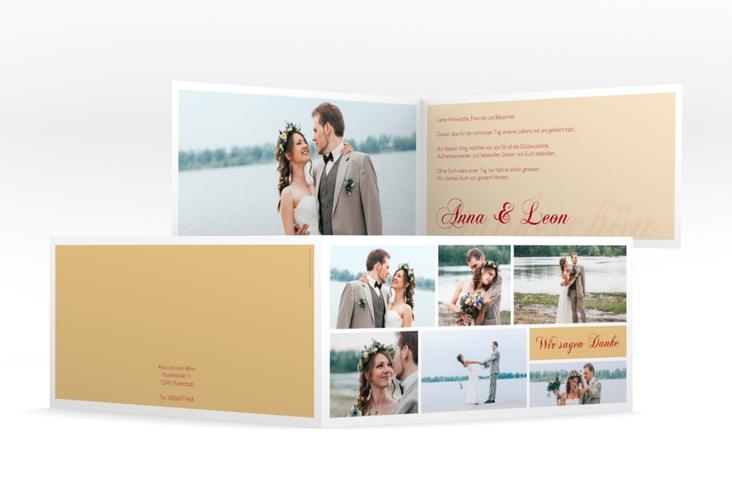 "Danksagung Hochzeit ""Collage"" DIN lang Klappkarte apricot"