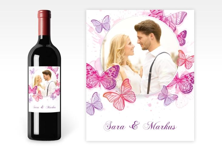 """Weinetikett zur Hochzeit """"Schmetterlinge"""" Etikett Weinflasche 4er Set"""