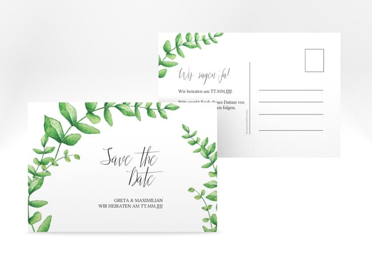 "Save the Date-Postkarte ""Botanic"" A6 Postkarte weiss"