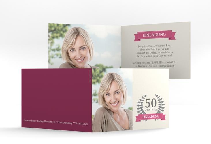 """Einladungskarte """"Pleasure"""" A6 Klappkarte Quer pink"""