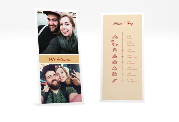 """Tagesablauf Hochzeit """"Collage"""" DIN lang hoch apricot"""