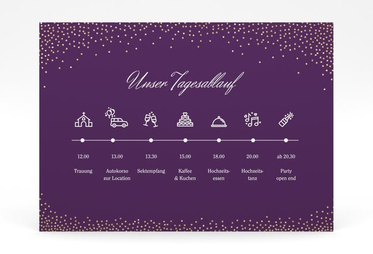 """Tagesablauf Poster Hochzeit """"Glitter"""" 70 x 50 cm Poster lila"""
