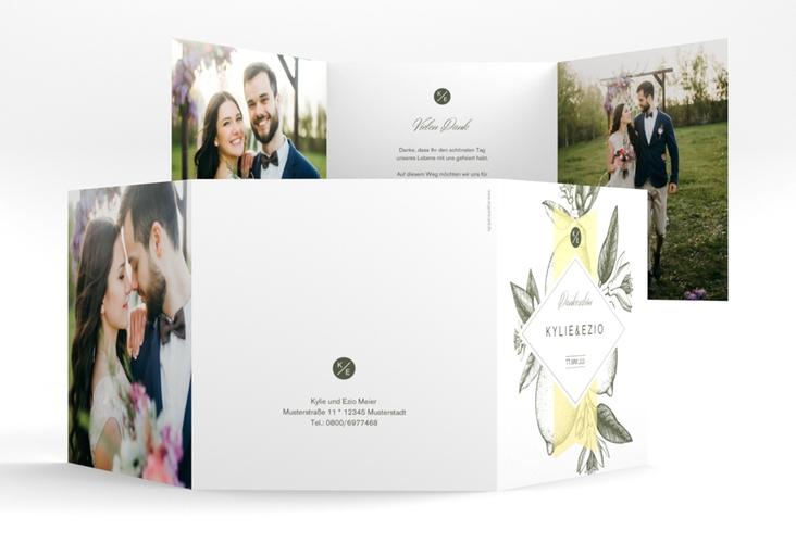 """Dankeskarte Hochzeit """"Lemon"""" Quadr. Karte doppelt"""