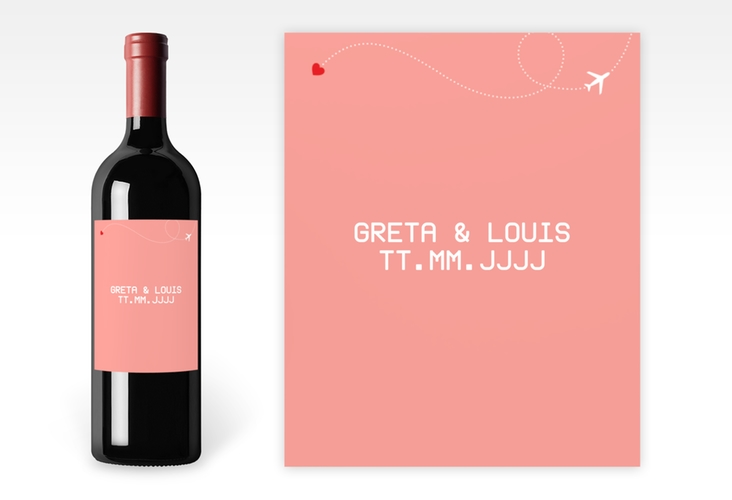 """Weinetikett zur Hochzeit """"Weddingpass"""" Etikett Weinflasche 4er Set rosa"""