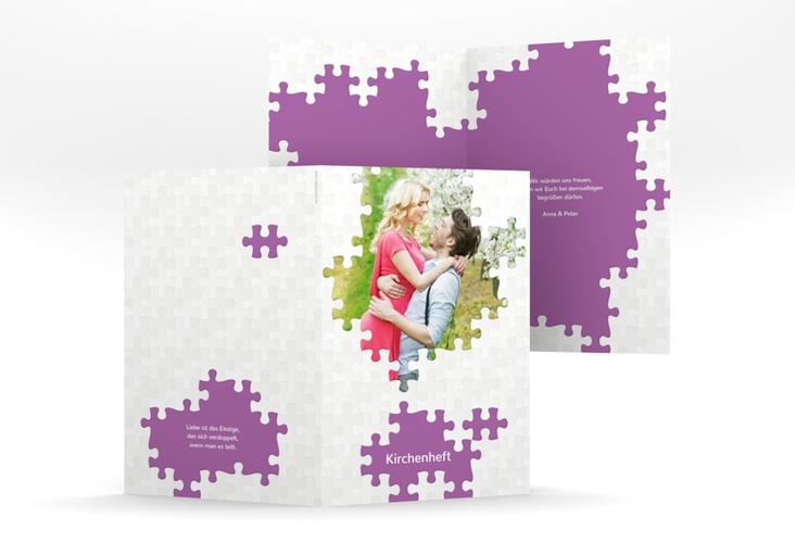 """Kirchenheft Hochzeit """"Puzzle"""" DIN A5 geklappt lila"""