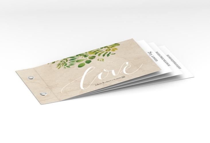 """Hochzeitseinladung """"Botany"""" Booklet beige"""