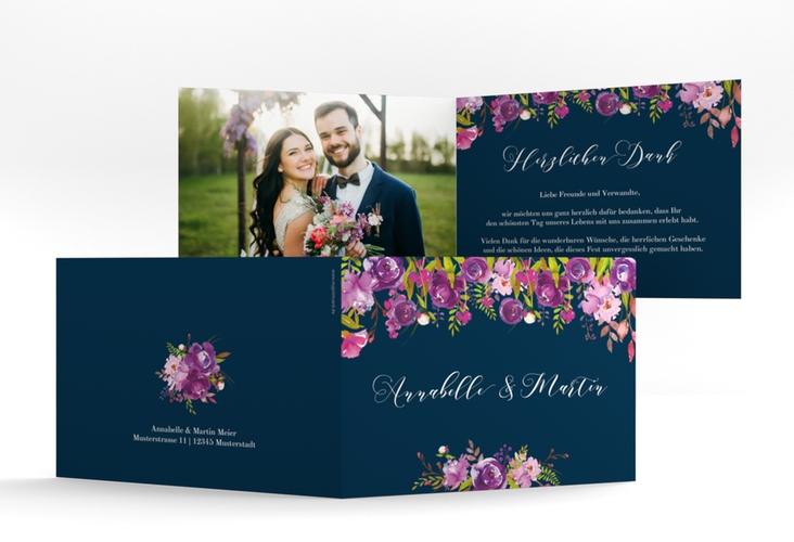 """Dankeskarte Hochzeit """"Violett"""" A6 Klappkarte Quer blau"""