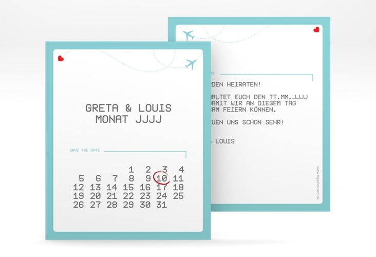 "Save the Date-Kalenderblatt ""Weddingpass"" Kalenderblatt-Karte blau"