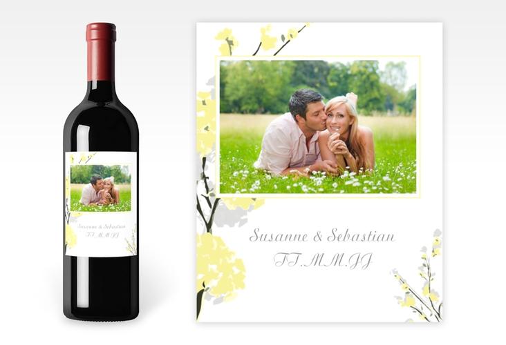 """Weinflaschenetikett Hochzeit """"Salerno"""" Etikett Weinflasche 4er Set gelb"""
