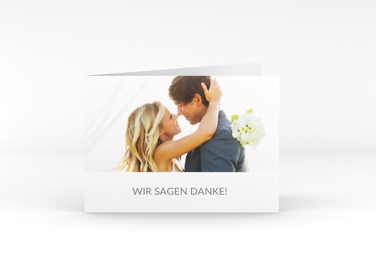 """Danksagungskarte Hochzeit """"Vista"""" A6 Klappkarte Quer weiss"""