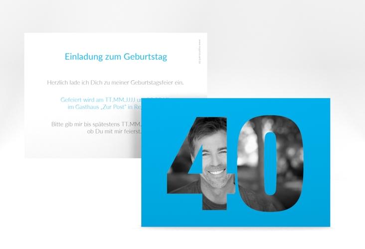 "Einladungskarte ""Numbers"" A6 quer blau"