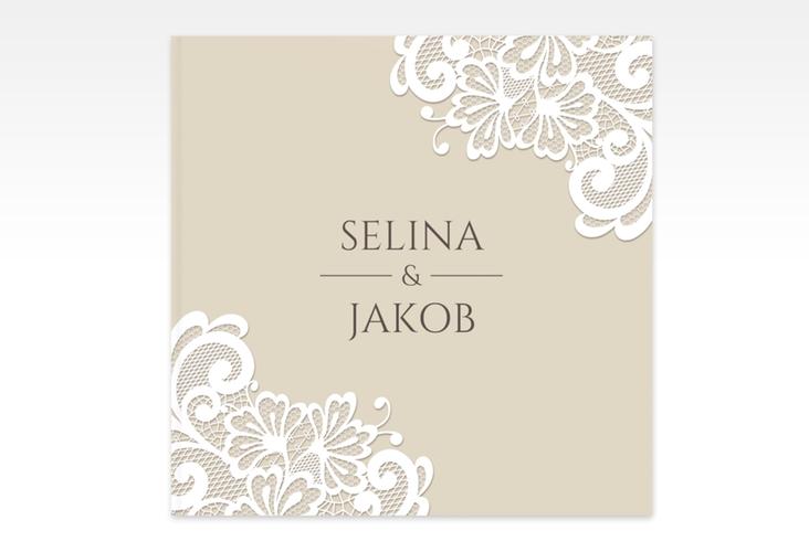 """Gästebuch Creation Hochzeit """"Vintage"""" 20 x 20 cm, Hardcover beige"""