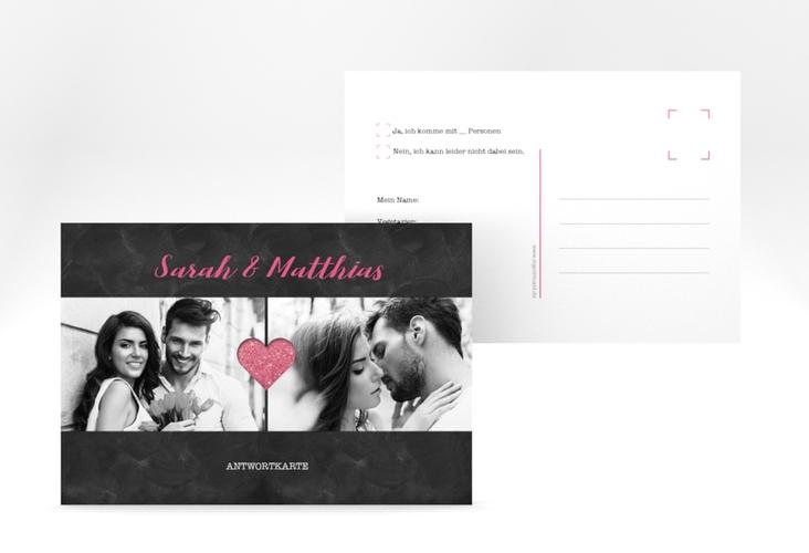"""Antwortkarte Hochzeit """"Sparkly"""" A6 Postkarte pink"""