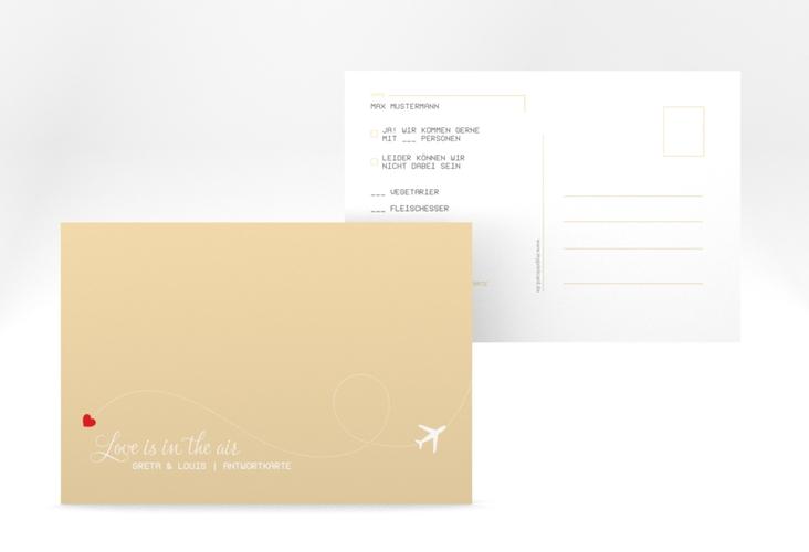 "Antwortkarte Hochzeit ""Weddingpass"" A6 Postkarte beige"
