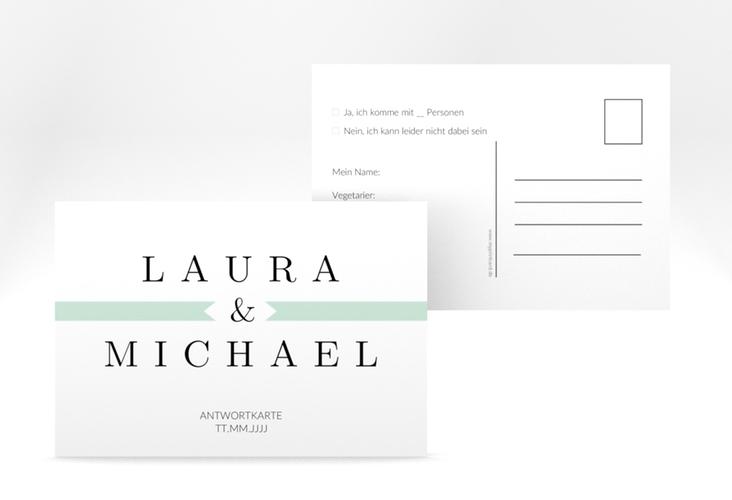 """Antwortkarte Hochzeit """"Tender"""" A6 Postkarte mint"""