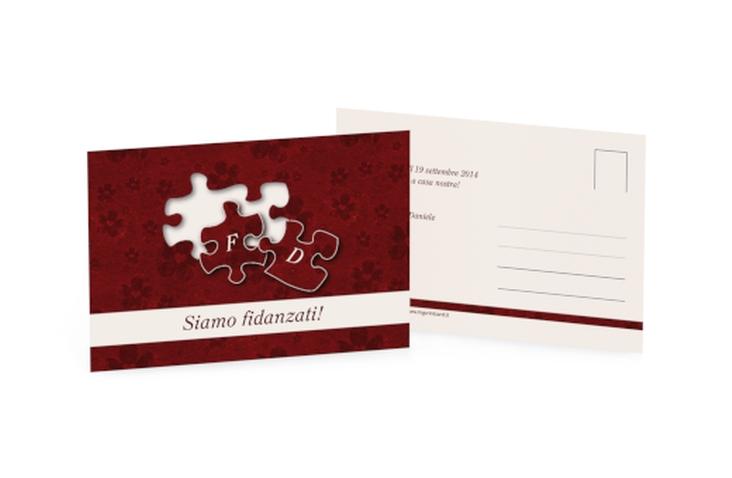 Inviti fidanzamento matrimonio collezione Bergamo A6 Postkarte rosso