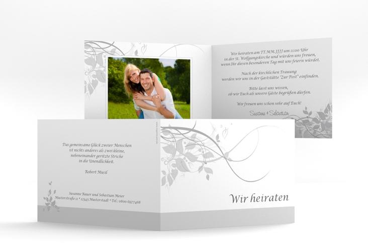 "Hochzeitseinladung ""Florenz"" A6 Klappkarte Quer grau"