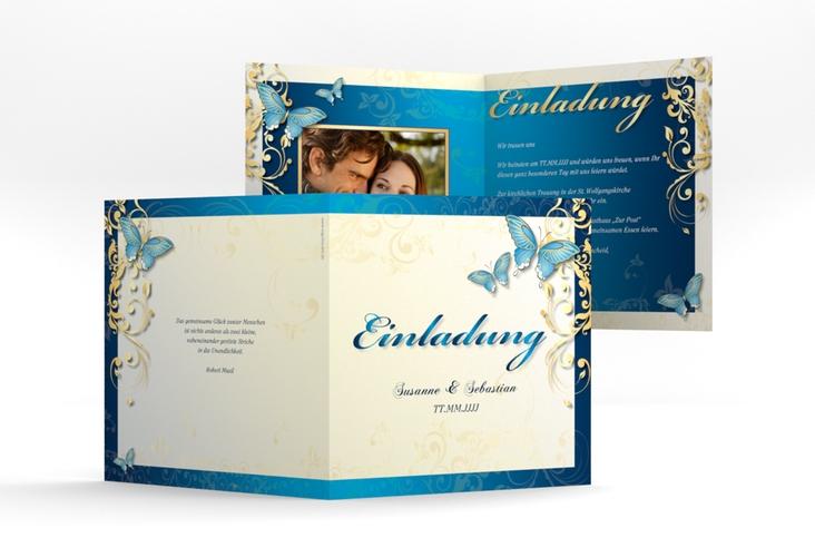 """Hochzeitseinladung """"Toulouse"""" Quadratische Klappkarte blau"""