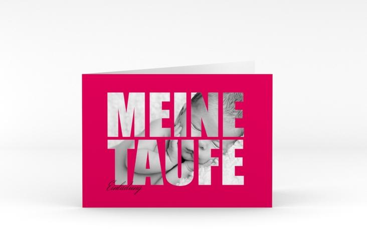 "Einladungskarte Taufe ""Blessing"" A6 Klappkarte Quer pink"