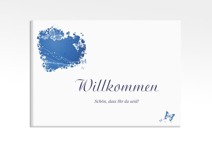 """Willkommensschild Leinwand """"Mailand"""" 70 x 50 cm Leinwand blau"""