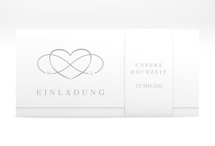 "Hochzeitseinladung ""Infinity"" DIN lang Wickelfalz grau"