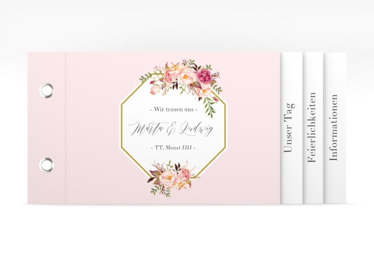 """Hochzeitseinladung """"Prachtvoll"""" Booklet rosa"""
